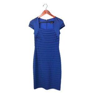 Adrianna Papell 4 dress sheath tiered layered blue